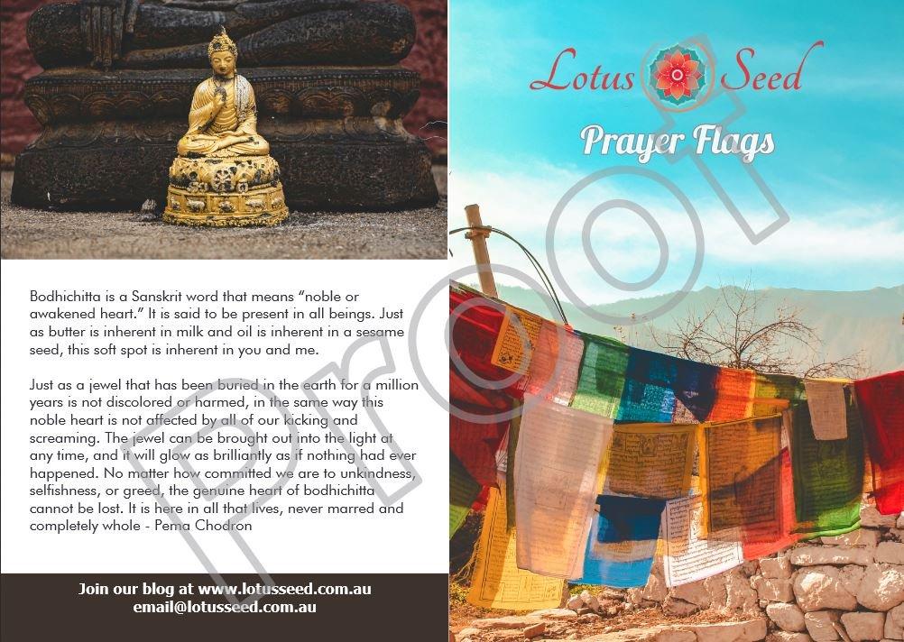 Lotus Seed prayer flags booklet explaining Buddhist symbols used