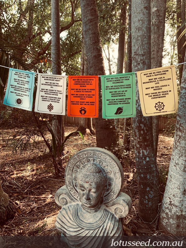 Lotus Seed Buddhism inspired prayer flags in english