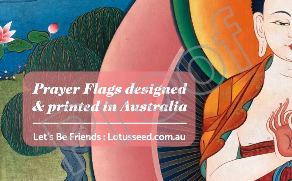 printed in australia card lotus seed prayer flags